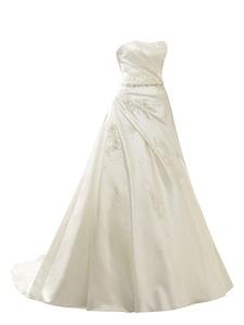 Rachel Weisz Women's Taffeta Strapless A Line Appliques Appliques Lace Up Wedding Dresses Bride Evening Ball Gown White US4