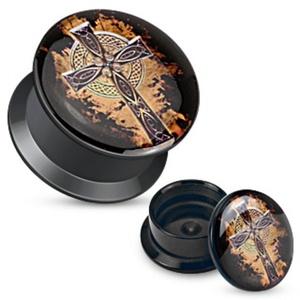 Fiery Cross Print Black Acrylic Flat WildKlass Screw Fit Plug (Sold as a Pair)