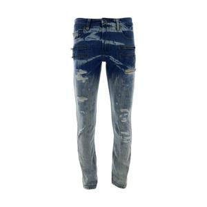 Focus Denim - Men's Zip Pocket Rips Jeans - Light Blue