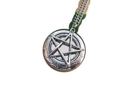 Ancient Silver Pentagram Locket Necklace,Pentacle Locket Pendant,Wicca Jewelry