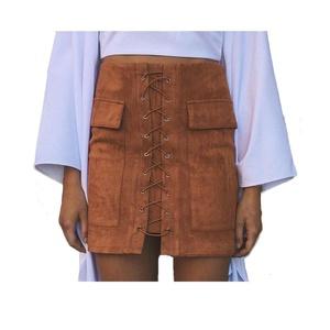 Women's Vintage High Waist Bodycon Faux Suede Mini Skirt