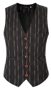 Cameinic Men's Classic 5 Button Formal Suit Vest Waistcoat Black