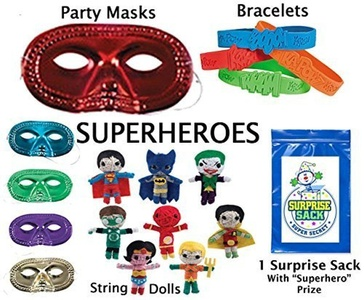 Superhero String Doll Party Favor Pack (12 Metallic Half Masks, 12 Super Hero Bracelets, & 12 Super Heroes String Dolls Superman, Batman, Robin, The Joker, Flash, Aquaman, Wonder Woman & The Green Lantern) by Multiple