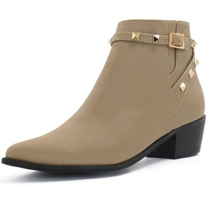 Allegra K Women Pointed Toe Stud Strap Ankle Booties Dark Beige (Size US 10.5)
