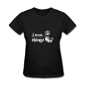 ZhiBo Women's Vintage Wine Cup I Drink and I Know Things Design T-shirt Black XX-Large Women