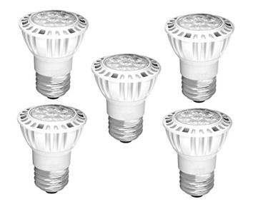 Pack of 5 7.5W 120V Dimmable Flood Light PAR16 LED Bulb, E26 Medium Base, 4000K Cool White