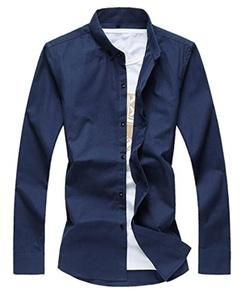 OULIU Mens Casual Shirt Slim Fit Wrinkle Free Dress Shirts Navy Blue US-XL