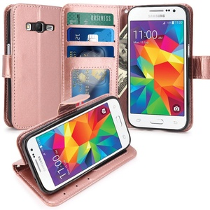 Core Prime Case, LK Galaxy Core Prime Wallet Case, Luxury PU Leather Case Flip Cover with Card Slots Stand For Samsung Galaxy Core Prime, ROSE GOLD