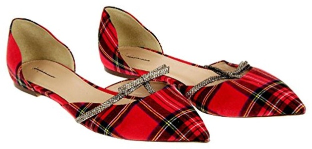 J Crew Sloan Plaid D'Orsay Flats With Mini Bow Style# E4997 New Size 10
