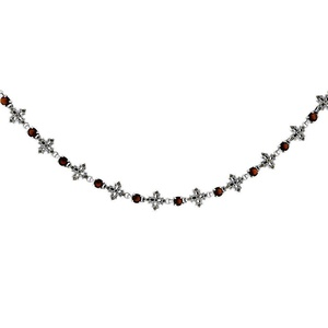 Sterling Silver Cubic Zirconia Garnet Floral Marcasite Necklace, 16 inches long