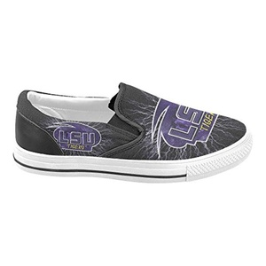 Thelma NCAA LSU Tigers Women's Slip-on Casual Loafers Canvas Shoes,White