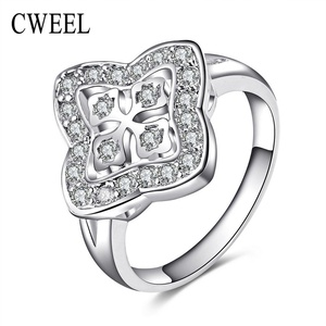 Slyq Jewelry Cubic Zirconia Engagement Ring Wedding Sliver Plated Crystal Jewelry Holiday Accessories Fashion