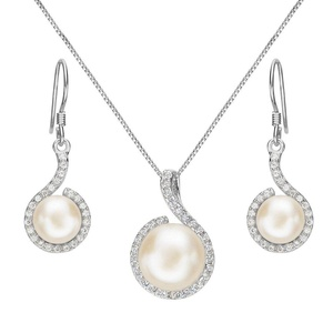 EleQueen 925 Sterling Silver CZ Cream Freshwater Cultured Pearl Hook Bridal Necklace Earrings Set Clear