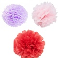 Color Your World 18 Pcs 8/10/12 Inches DIY Tissue Paper Pom-poms Flowers Ball with 3 Colors for Wedding Party Outdoor Baby Shower Bedroom Decoration