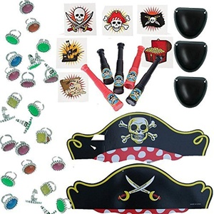 Pirate Birthday Party Favors for 12 - 12 Pirate Hats, 12 Eye Patches, 36 Tattoos, 24 Colorful Rhinestone Rings, 12 Mini Toy Telescopes, 1 Party Game Idea Card (Bundle of 6 different items) Total 97 pieces by Multiple