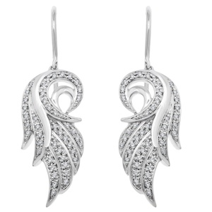 IGI Certified 14K White Gold White Diamond Angel Feather Wing Drop Earrings (1/5 Carat)