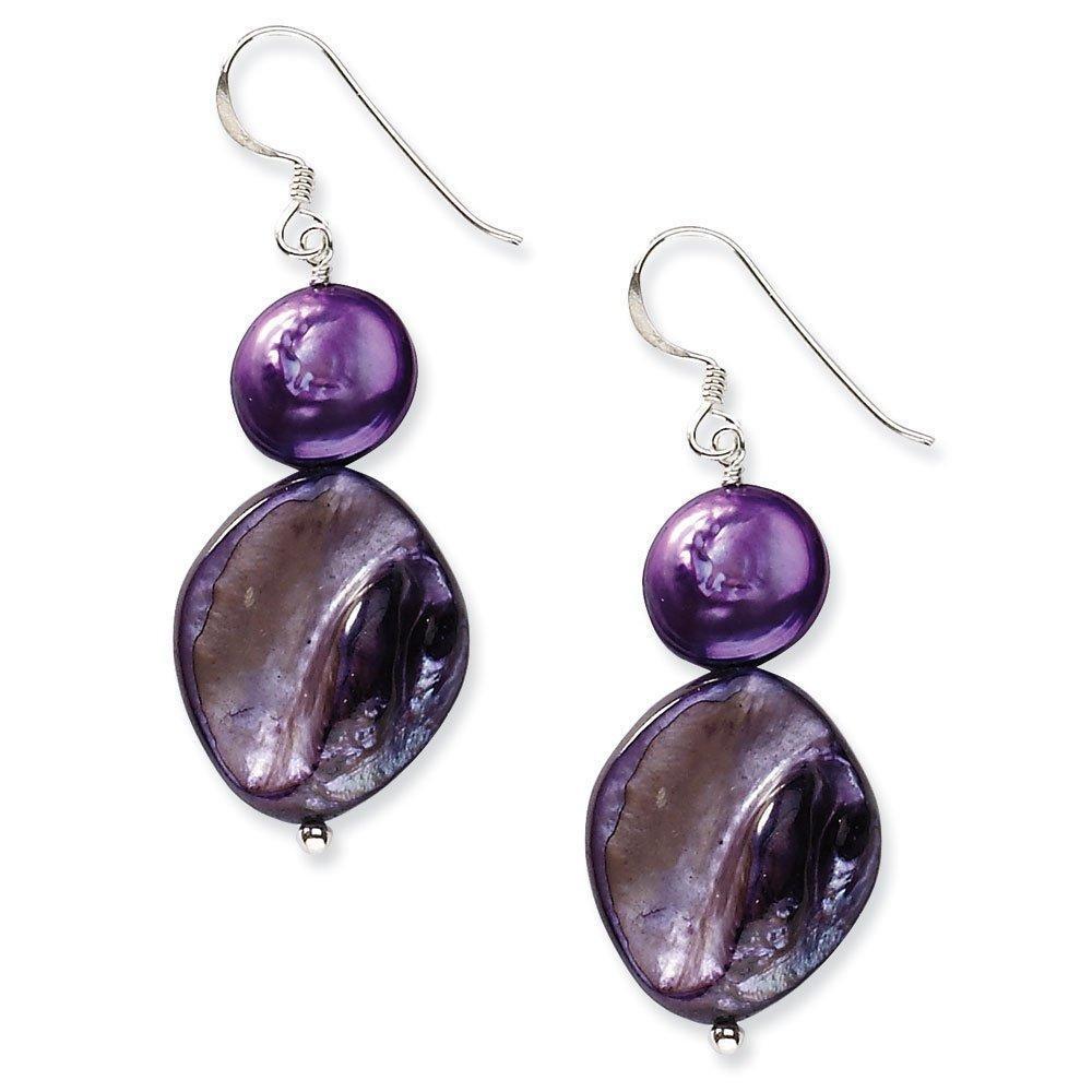 .925 Sterling Silver 50 MM Dark purple Mother of Pearl & Freshwater Cultured Pearl Earrings