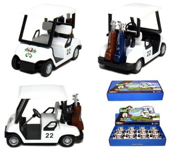 Box of 12 White Golf Carts, 4 Die-cast Metal with Pull Back n Go Action. by Box of 12 Die-cast Vehicles
