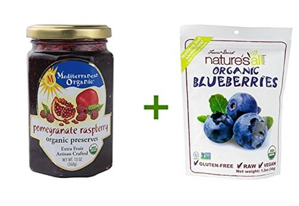 Mediterranean Organic Preserves Pomegranate Raspberry -- 13 oz, (4 PACK), Nature's All Foods Organic Freeze-Dried Raw Blueberries -- 1.2 oz