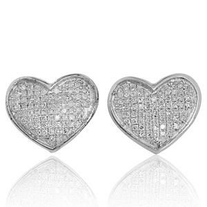 Ladies Fashion Heart Earrings 1/4ctw Diamonds Sterling Silver 12mm Wide Screw Back (i2/i3, i/j)