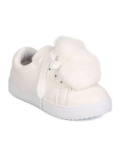 Link GB71 Girls Leatherette Lace Up Pom Pom Sneaker (Toddler Girl / Little Girl / Big Girl) - White (Size: Little Kid 12)