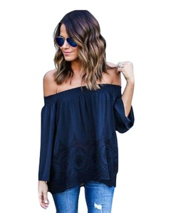 Women's Sexy Lace Crochet Off Shoulder Long Sleeve Casual Blouse Tops #2398,Navy blue,M