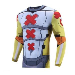 Cartoon Plus Size Cotton Blend 3D Print T Shirt Sport Cosplay Long Sleeve Jersey (M)