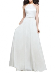Winnie Bride Elegant Halter Long Formal Evening Dresses for Wedding Guests 2016-26W-White
