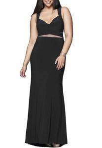Firose Women's Plus V Neck A-line Long Prom Dresses Homecoming Dresses 26W Black