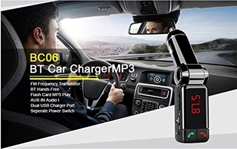 Sufang In-Car Bluetooth Fm Transmitter FM Transmitter Kit with Handfree Calling Music Control and Dual USB Charging Port for All Smartphone