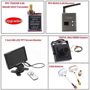 Hopezone FPV System TS5828S 40CH 5.8Ghz 600mw Wireless AV TX Transmitter + RC832 Receiver + 7'' LCD TFT Monitor + 700TVL Mini CMOS Camera + 5.8G Mushroom Antennas (Ship from US)