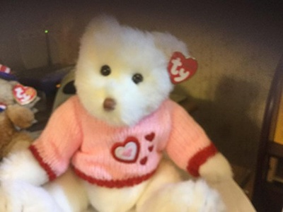 Ty Classic White Bear Lacey w/ pink sweater & hearts