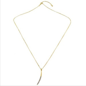 Dot & Line New Moon Necklace, Crystal Moon Pendant Gold Chain Necklace