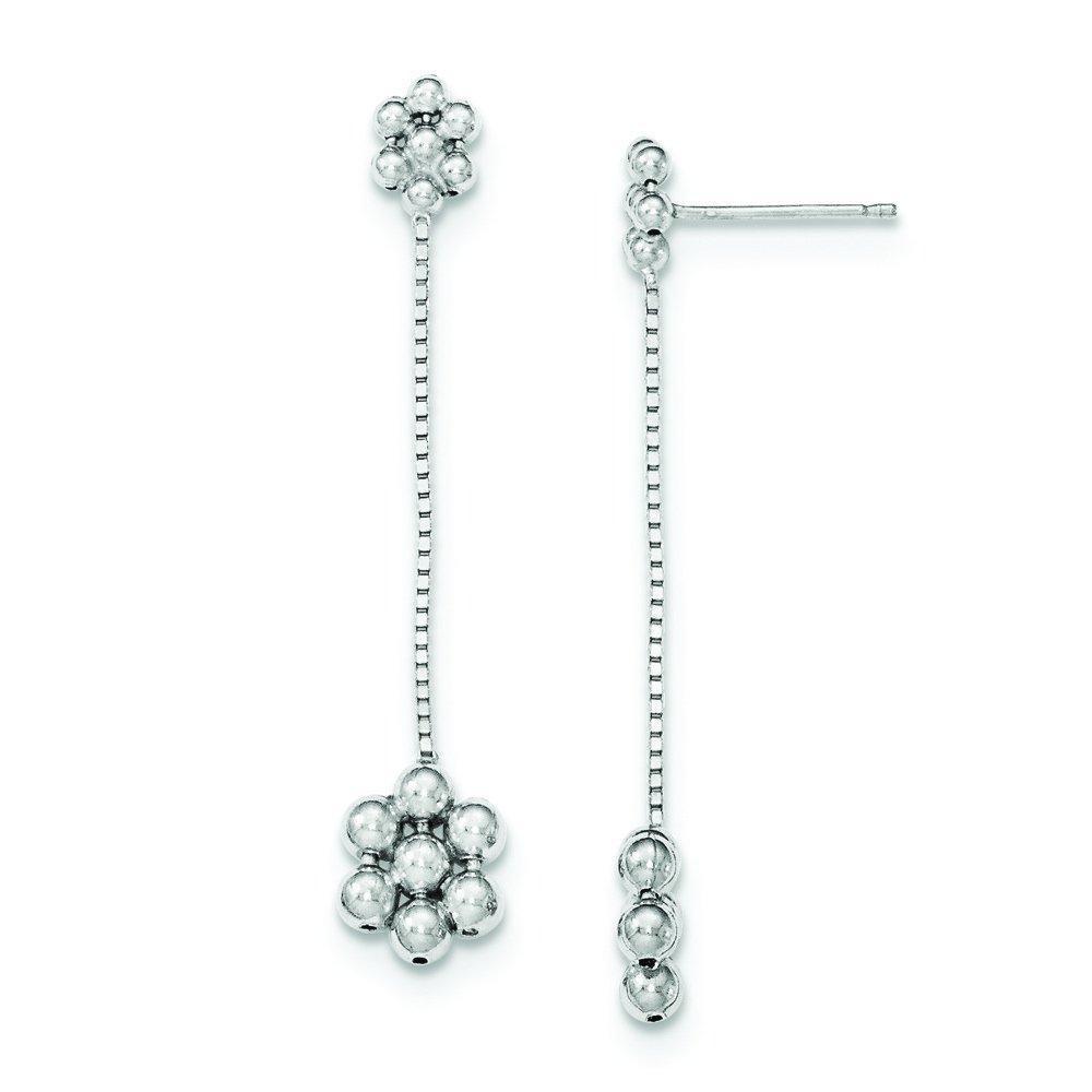.925 Sterling Silver 45 MM Chain Dangle Flower Dangle Post Stud Earrings