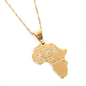 Crystal Africa Map Pendant Necklace Women Girl 24K Gold Plated African Map Hiphop Item Wholesale Pendant (Map Pendant With Stone)
