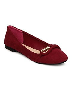 Qupid FF08 Women Faux Suede Round Toe Loop Band Ballet Flat - Burgundy (Size: 9.0)