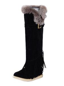 Women's Sherpa Lined Faux Fur Trim Knee High Comfort Fringe Flat Boots Black CN 36 - US 6