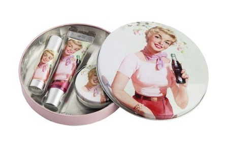 Lip Smacker Coca Cola Lip Happiness Cherry Flavoured Kit contains Lip Splash/ Lip Pop/ Lip Refresh Balm/ Retro Designed Re-Usable Collector Tin by Lip Smacker