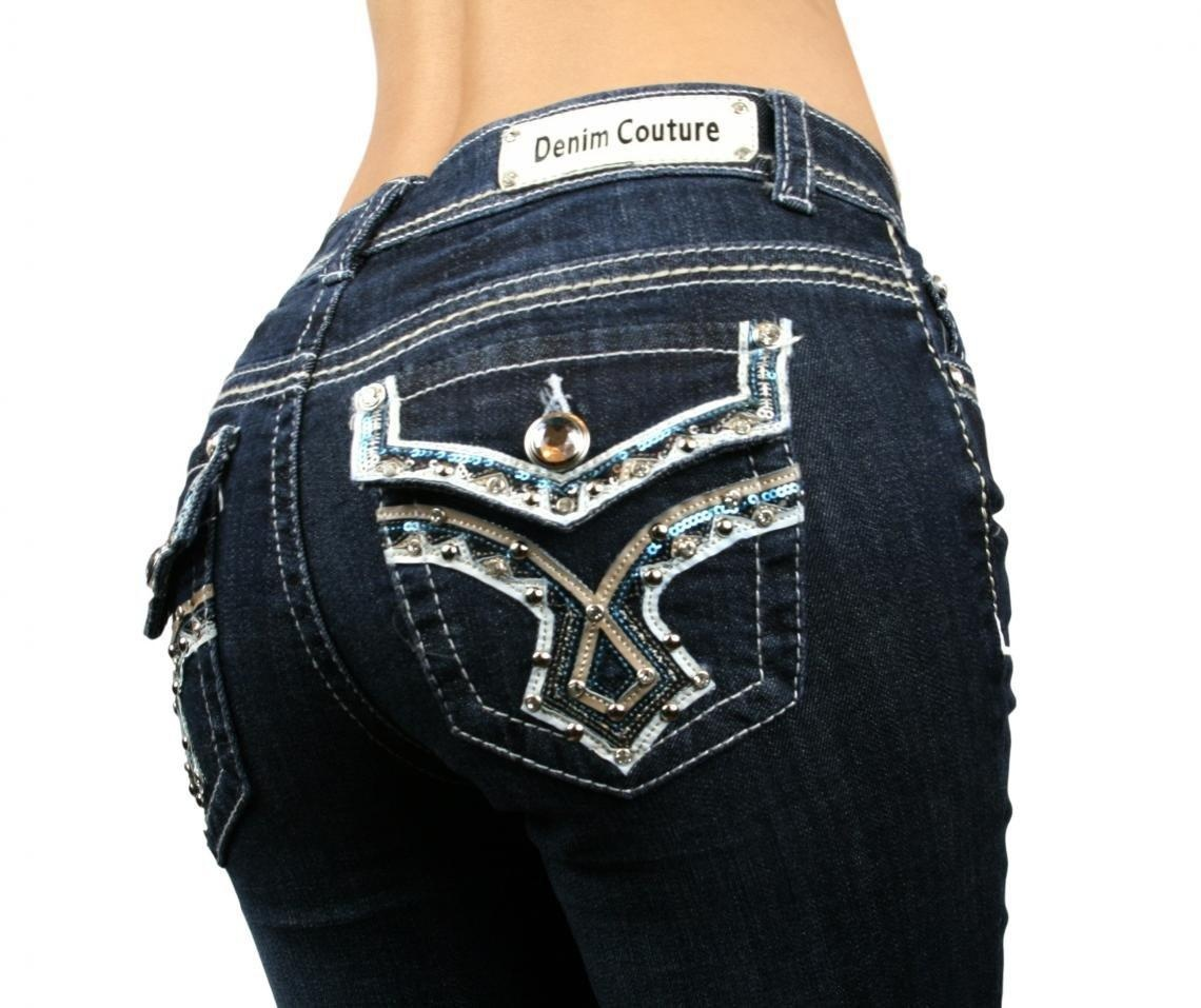 Denim Couture Revival Rhinestone Studs Dark Blue Wash Boot Cut Jeans