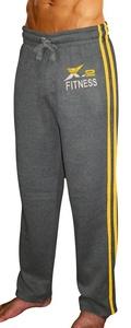X-2 Men's Active Fleece Joggers Sweatpants Tracksuit Running Athletic Pants 2 Stripes Charcoal XXL