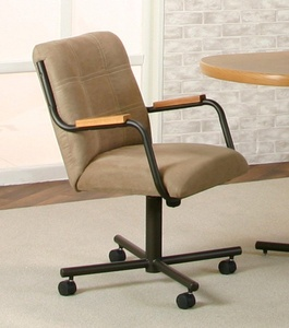 Casual Rolling Caster Dining Chair with Oak Arms and Microsuede Seat and Back (1 Chair)