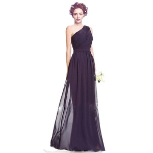 KG DRESS Long One Shoulder Runched Sash Chiffon Evening Dress Prom Gown Grape US8