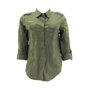 Denim Culture - Women's Army Patches Roll Up Shirt - Olive