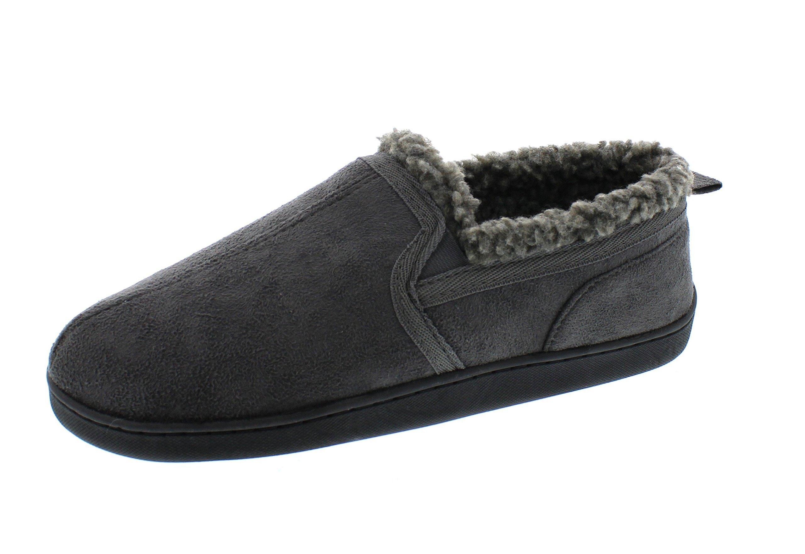 Gold Toe Men's Norman Memory Foam Slip-On Microsuede Sherpa Lined Casual Slipper Loafer Shoe Grey M 9-10 US