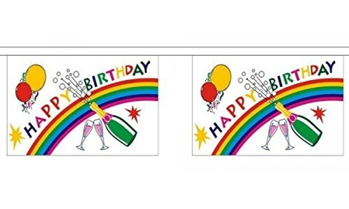 Happy Birthday Bottle Bunting Horizontal 9M Metre Length With 30 Flags 9X6 by Happy Birthday Bottle