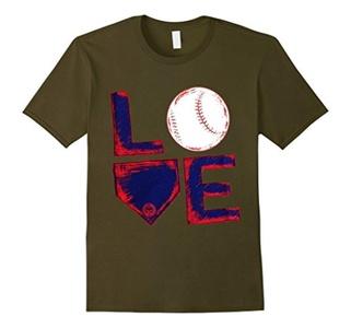 Men's I Love Baseball T-Shirt Small Olive