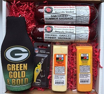 WISCONSIN's BEST and WISCONSIN CHEESE COMPANY - GREEN BAY PACKER FAN FISHING Gift Basket - features Smoked Summer Sausages, 100% Wisconsin Cheeses and Packer Novelties - Great Gift