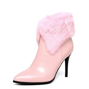 Nine Seven Genuine Leather Women's Pointed Toe Stiletto Heel Rabbit Fur Zip Handmade Ankle Bootie (9, black)