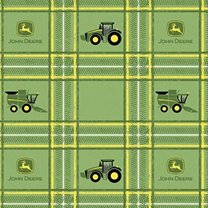John Deere Tractor Plaid Fabric From Springs Creative By the Yard