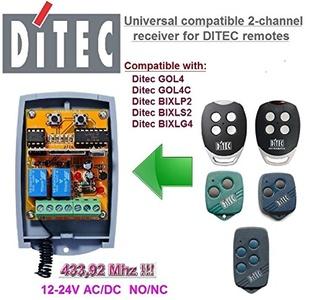 Ditec compatible receiver. 2-channel universal receiver for Ditec GOL4, GOL4C, BIXLP2, BIXLS2, BIXLG4 remote controls. 12-24V AC/DC